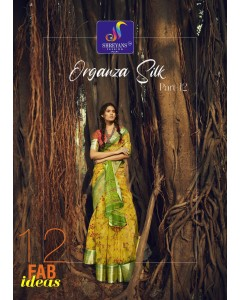 BUNDLE OF 12 WHOLESALE SAREE CATALOG  ORGANZA SILK BY  SHREYANS