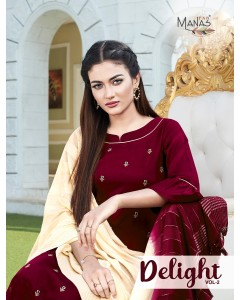 BUNDLE OF 6 WHOLESALE KURTI CATALOG - DELIGHT Vol.2 BY MANAS FAB