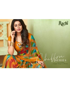 BUNDLE OF 12 WHOLESALE SAREE CATALOG Super Kesar Chiffon 54th edution Hit designs. BY RUCHI SAREE