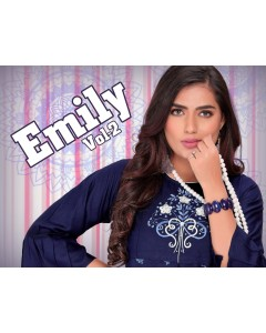 BUNDLE OF 8 WHOLESALE KURTI CATALOG     EMILY VOL.2 BY  TRENDY
