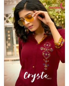 BUNDLE OF 6 WHOLESALE KURTI CATALOG Crystal-2 BY KOODEE