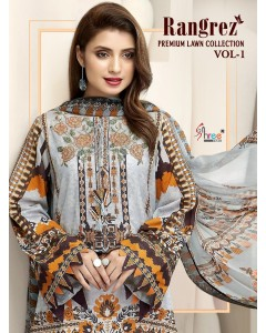 BUNDLE OF 6 WHOLESALE SALWAR SUIT CATALOG RANGREZ PREMIUM LAWN COLLECTION VOL-01   COTTON DUPPTA