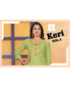 BUNDLE OF 8 WHOLESALE KURTI  CATALOG     KERI VOL-2   RAMDEV CREATION